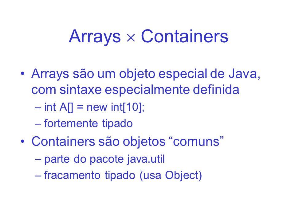 Arrays  Containers Arrays são um objeto especial de Java, com sintaxe especialmente definida. int A[] = new int[10];